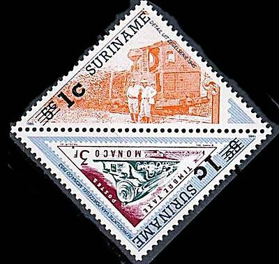 SURINAME = TRAINS LOCOMOTIVES O/PRINT in TRIANGLES / STAMP on STAMP