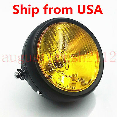 Amber Retro Vintage Motorcycle Headlight Cafe Racer Bobber Cruiser Rat Bike CB