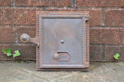 22 x 19.5 cm old cast iron fire bread oven door/doors /flue/clay/range/pizza