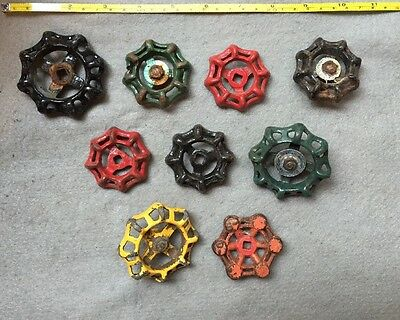 Lot Of 9 Vintage Heavy Metal Water Faucet Handles Knobs Valves Steampunk Lot#6