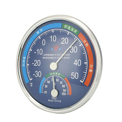 Round Thermometer Hygrometer Indoor Outdoor Temperature Wet Humidity Meter Gauge