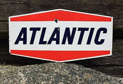 Vintage Original ATLANTIC Gas Service Station Pump Plate Porcelain Sign 9x4