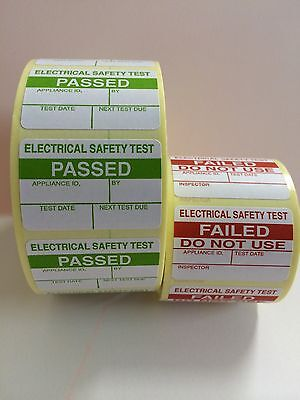 1000 PAT Testing Electrical PASSED Labels Stickers + 100 Free FAILED