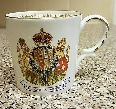 Aynsley Mug Commemorating The Eightieth Birthday Of The Queen Mother 1980
