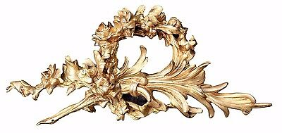 Antique Large French Bronze Ormolu Mirror Pediment Hardware Mount - Floral