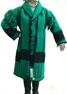 "AuSable® Brand Full Wool Capote Coat Green Color Size Small (5'5"" - 5'9"")"