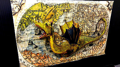 Dragon on Medieval Map Art in 3-D poster leather like feel size 11x17