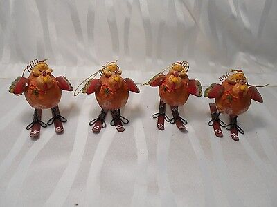 Lot of 4 Chickens Hens on Skiis Christmas Tree Ornaments