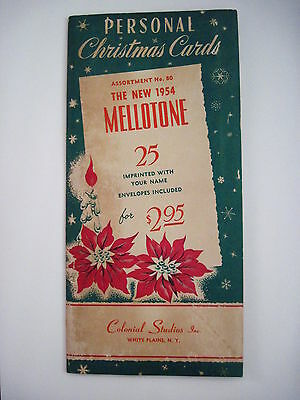 """1954 """"Mellotone"""" Salesman Christmas Card Brochure w/ Cards and Prices *"""