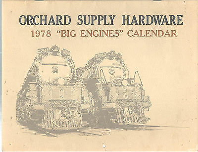 Railroad Calendar Big Engines 1978 Michael Kotowsky Orchard Supply