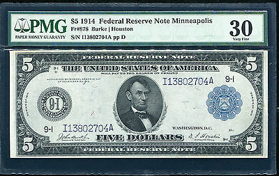 Fr. 878 1914 $5 Frn Federal Reserve Note Minneapolis, Mn Pmg Vf-30 Scarce