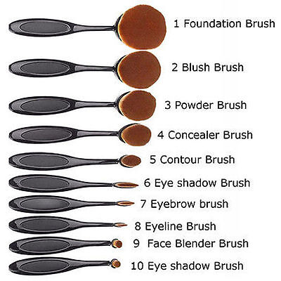 10Pcs Toothbrush Elite Oval Make up Brushes Set Powder Foundation Contour Black