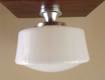 "VTG Art Deco HUGE 14"" Schoolhouse Church Milk Glass Chrome Ceiling Light Fixture"