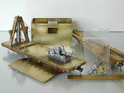 S/Sn3 Part Scratch Built Brass D&RGW Derrick OP & Boom Car. Alamosa Wreck Train