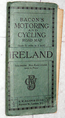 Bacon's Motoring & Cycling map of all Ireland, 7 1/3 miles to 1 inch.