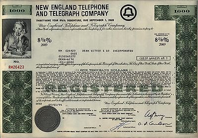 $1,000 New England Telephone & Telegraph Company Bond Stock Certificate