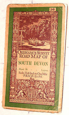 Ordnance Survey Road Map of South Devon, 1/2 inch to a mile. Sheet No.36, 1930's