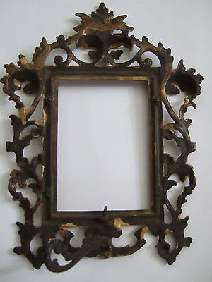 Victorian gilded metal table top mirror / picture frame with scrolls, leaves