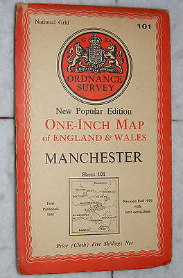 Ordnance Survey,New Popular Edition, Manchester, Sheet 101,1 inch to mile, 1947
