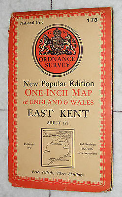 Ordnance Survey,New Popular Edition, East Kent, Sheet 173,1 inch to mile, 1945