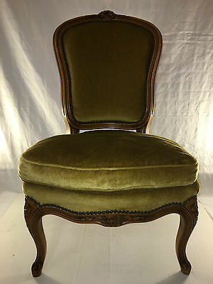 Antique Victorian Velvet Armless Chair Wooden Wood