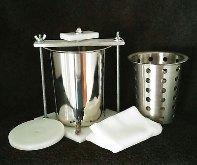 "4"" STAINLESS STEEL CHEESE PRESS w/ FREE SOFT CHEESE MOLD* FREE SHIPPING"