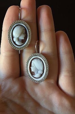 Cameo earrings silver 925 sardonic zircon woman made in Italy