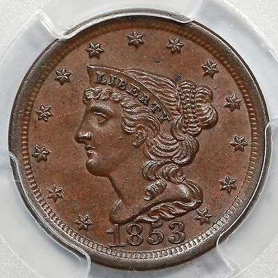 1853 PCGS MS 63 BN Braided Hair Half Cent Coin 1/2c