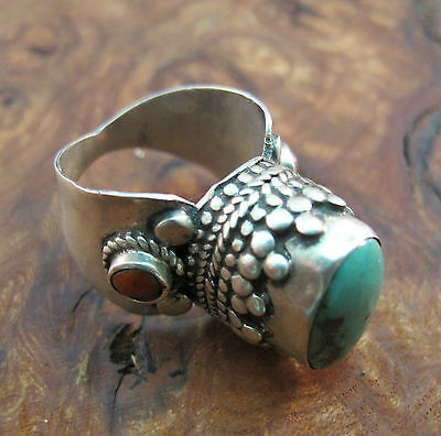 925 Sterling Silver Ring Tibetan Turquoise Red Coral Big Stone Size UK P/Q US 8