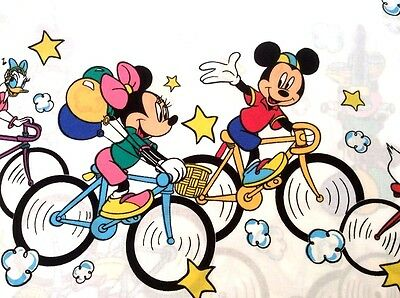 Vintage DISNEY MICKEY MOUSE Friends on Bicycles QUEEN Size Flat Sheet NWOT 1992