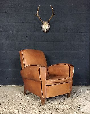 Stunning Vintage Antique French Leather Club Chair