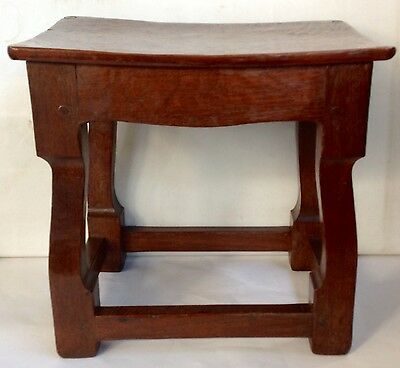 Solid Oak Jacobean Style Footstool, Shaped Top, Bench Made, Pegged & Hand Planed