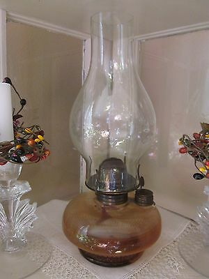 Antique Hurricane Oil Lamp with Cast Iron Swing Arm Wall Mount Sconce & Hardware