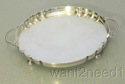 midcentury REVERE SILVERSMITH STERLING TRAY solid footed handled modernist 266g