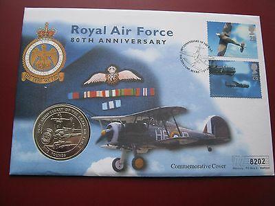 Guernsey 1998 5£ Pound UNC Crown Coin RAF 80th Anniversary FDC stamps cover