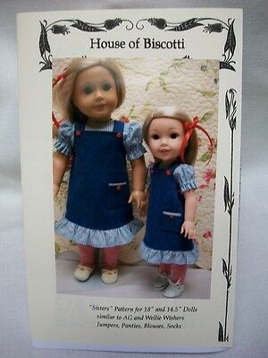 """""""Sisters""""  Pattern for 18"""" and 14.5"""" Wellie Wishers, Jumper, Blouse, Socks"""
