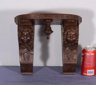 French Antique Shelf/Sconce with Cherubs Oak Wood Corbel with Angels (K)
