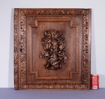 Antique French Hunting Style Carved Panel in Oak Wood