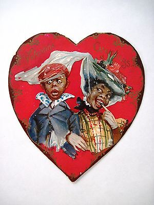 "Vintage Black Americana ""Brundage"" Valentine w/ Large Red Heart w/ Cute Couple *"