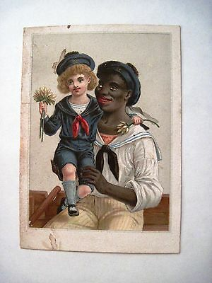 Vintage Black Americana Card w/ Picture of Black Man in Sailor Suit  *