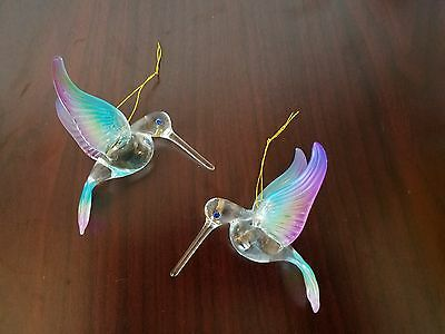 2 Hanging Hummingbird Blown Glass Figurine Rainbow Color XR296A