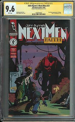 John Bryne's Next Men #21 Ss Cgc 9.6 1St App Hellboy Signed Mike Mignola Auto