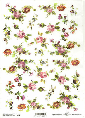 Pink Roses Flowers A4 ITD R392 Rice Paper for Decoupage Scrapbooking
