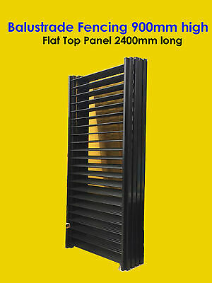 Balustrade Fencing, Balcony & Deck Fence: Flat Top 900mm high x 2400mm - Black