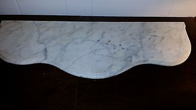 "WHITE & GREY CURVED MARBLE SLAB TOP TABLE SHELF 26 1/4"" x 9 1/4"" x  3/4"""