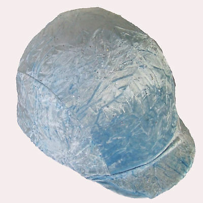 Ecotak light blue crushed velvet lycra helmet cover Ecotak