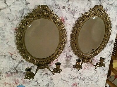2 Antique Bronze or Brass Oval Mirror Double Arm Candle Wall Sconces Victorian