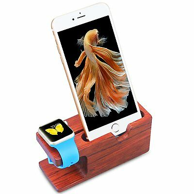 Rose Wood Charging Stand Bracket Docking Station for iPhone iWatch 38mm 42mm Re
