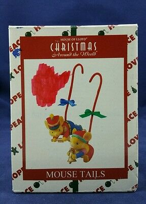 1998 House Of Lloyd Christmas Around The World Ornaments 2 Hanging Mice Tails