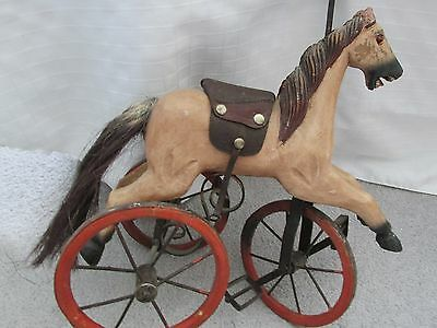 Antique ?  Small Child's Hand Carved Wooden Horse/ Tricycle